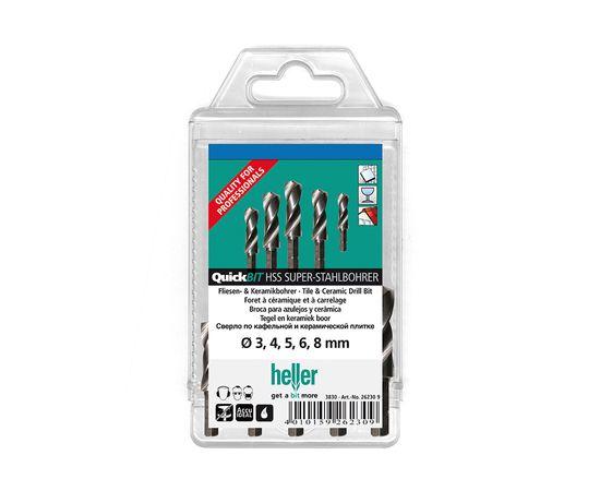 """Набор сверл по металлу QuickBIT 5 шт, хвостовик 1/4"""", HSS-G (Super) пластиковая кассета HELLER (26571)"""