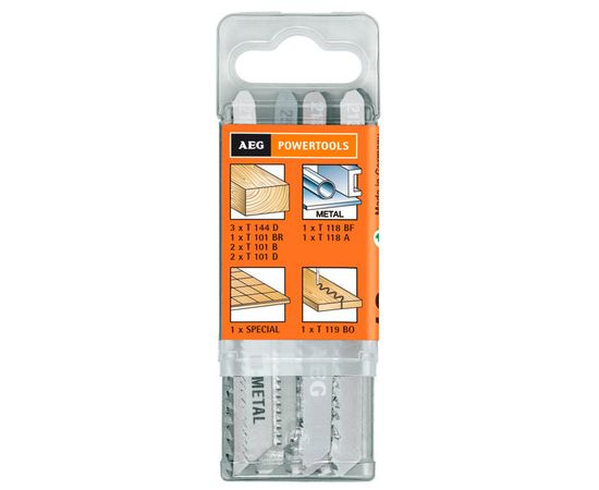 Набор полотен для лобзиковой пилы по дереву и металлу, 12 шт AEG - 4932373494, фото 1 | SNABZHENIE.com.ua