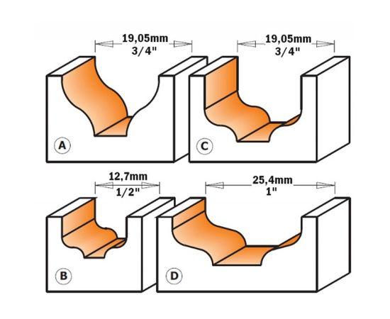 Фреза фигурная для декорирования 10 x 10 x 50 мм, хвостовик 6,35 мм CMT - 865.402.11, фото 2 | SNABZHENIE.com.ua